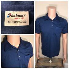 Vintage Stedman Polo pocket T-shirt Deadstock NOS navy blue small 50/50 soft 80s