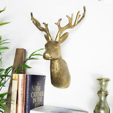 Wall mounted vintage gold reindeer stag head distressed wall art deer display