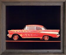 Classic Chevy Bel Air 1957 Vintage Car Picture Wall Decor Barnwood Framed 19x23