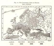 La zona isotérmica de Europa Mapa. Sketch 1885 cuadro de plan de Antiguo Viejo
