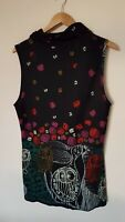 Ladies Black Patterned Top Size 16 <CX2488