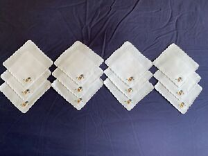 Vintage Set 12 White Linen Hand Embroidered Madeira Work Cocktail Canape Napkins