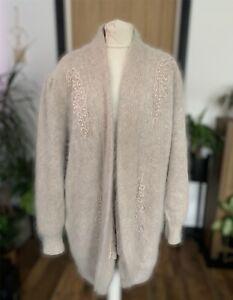 Vintage Ivory embroidered 80% angora fluffy cardigan size Large Coatigan Warm