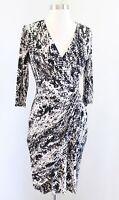 Calvin Klein Snakeskin Print V Neck Ruched Gathered Dress 3/4 Sleeve Size 6