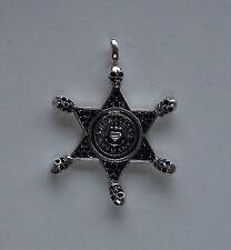 Sheriff Deputy Marshal Ranger Law SILVER Badge Necklace Skull Pendant Star