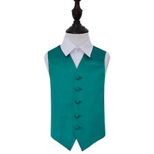 """Boys Waistcoat High Quality Plain Solid Formal Tuxedo Wedding Page Boy Vest Teal Age 9 to 10 - 30"""""""