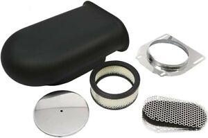 "Black 14"" Aluminum Hilborn Style Hood Scoop Air Cleaner 4 Barrel Carb 5-1/8"""