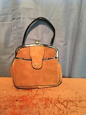 Vintage Lennox Brown Suede Purse Handbag Original Mirror Included  BEAUTIFUL