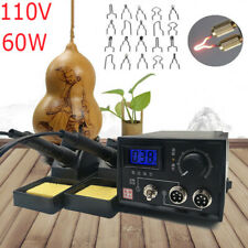 110V 60W Electric Iron Wood Burning Kit Pyrography Machine Digital Display 2 Pen