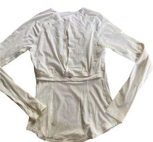 LULULEMON Cover Me Long Sleeve White Top size 6 UPF 50 Gym Beach Yoga  Open Back