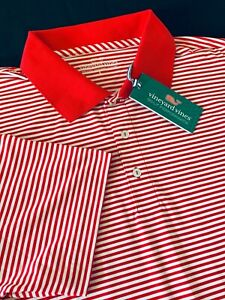 New Vineyard Vines Performance Stripe Red/White Golf Polo Shirt Sz L