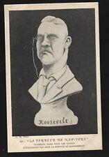 French Cartoon Postcard Teddy Roosevelt Terror of New York Artist Signed Cespina