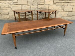 Set of 3 Mid Century Danish Modern Lane Acclaim Walnut Bench 2 End Tables