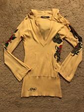 SEXY ED HARDY FORM FITTING SWEATER WITH HOOD...SIZE SMALL
