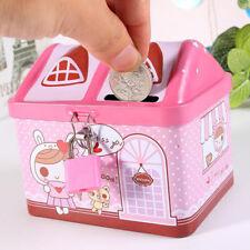 Cute House Model Iron Piggy Bank Money Saving Box Kids Girl Gift Coin Deposit Db