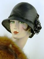 VINTAGE HAT 1920s CLOCHE HAT,THE FRENCH ROOM, FINE BLACK STRAW w CELLOPHANE ROSE