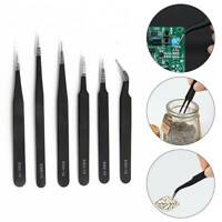 6PCS Professional Coated Precision Tweezers Set Kit Stainless Steel Non-Magnetic