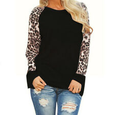 US Women Leopard Plus Size Blouse Tops Long Sleeve Casual Loose T-Shirt Pullover