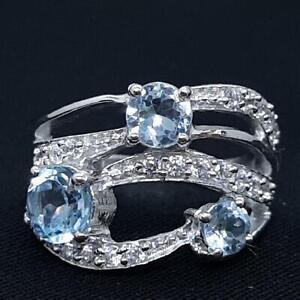 World Class 2.20ctw Swiss Topaz & Diamond Cut White Sapphire 925 Silver Ring