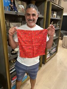 Men's silk animal print Gucci red pocket square