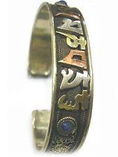Big Tibetan 3-color Copper Lotus Filigree 2 Lapis OM Mani Amulet Cuff Bracelet