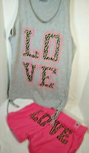 Ladies Pajamas 2 piece Gray Tank Pink Shorts Pants  New  Small 4-6  Love