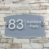 Dove Grey Modern House Sign - Door Number - Address Sign - Contemporary