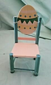 EASTER EGG PASTEL PAINTED WOOD CHAIR BARBIE SCALE SIZE