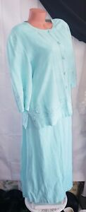 Coldwater Creek Light Summer Mint Linen Rayon Womens Jacket Dress Set Sz PXL