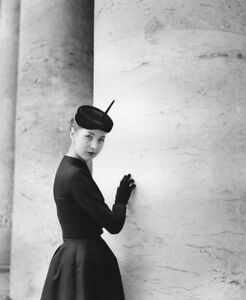 Photo Antique, Woman, 1952, Model, Dress And Hat, Poster Black and White