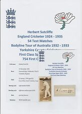 HERBERT SUTCLIFFE ENGLAND CRICKETER ASHES BODYLINE TOUR 1932-33 RARE HAND SIGNED