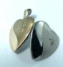 9k Diamond Heart Photo Locket Pendant_375 two tone gold white and yellow