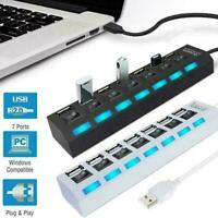 7-Port USB 2.0 Multi Hub + High Speed Adapter ON/OFF Switch for Laptop PC Mouse