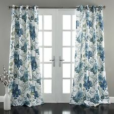 "Lush Decor Floral Paisley Window Curtain Panel (Set of 2), 84 x 52"", Blue"