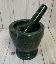 NEW Mortar And Pestle Footed Marble Natural Stone Green