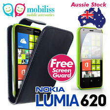 Nokia Lumia 620 PU Leather Flip Case Cover Wallet Card Holder Screen Protector