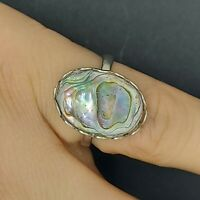 Solid sterling silver 925 Ring MR02-D3 paua shell  jewelry Q abalone sea