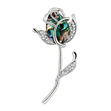KD_ Fashion Rose Flower Rhinestone Brooch Pin Women's Scarf Bridal Jewelry Lat