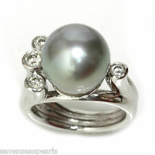 Tahitian Pearl Diamond  Ring 12 MM  AAA Flawless14kt White Gold