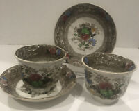 Two Canella Transferware Staffordshire E Challinor Ironstone Saucers & Soup Cups