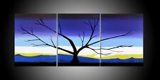 """tree in Blue landscape art Canvas Pictures 48"""" X 20"""" Art Wall Hanging original"""