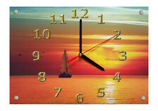 "Große Motiv Wanduhr 30 x 21cm "" Sonnenuntergang am Meer """