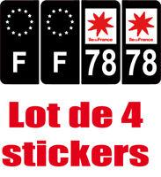 4 Autocollants 2 paires Stickers style Auto Plaque Black Edition noir F+ 78