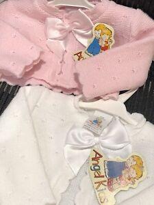 Spanish Knitted Baby Girls Cardigan Bolero Jumper Pink White 0-3 3-6 6-9 Mths