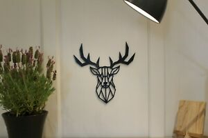 Geometric Stag Deer - Wall Art Decoration Hanging Colour Black/White