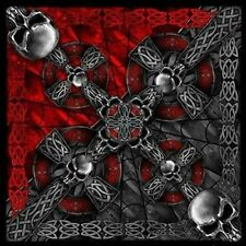 "Celtic Cross and Gothic Skulls Biker Bandana 21""x21"" New BIKER Doo Rag BAN-0008"