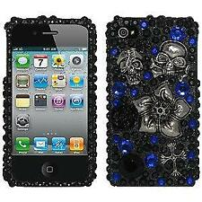 NEW Black Skull & Flower FULL DIAMOND 3D CASE COVER FOR iPHONE 4 4S