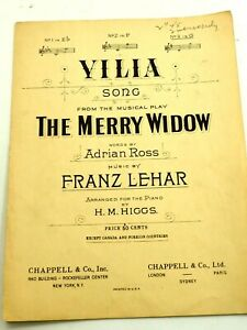Villa Song from the Musical The Merry Widow Sheet Music 1907