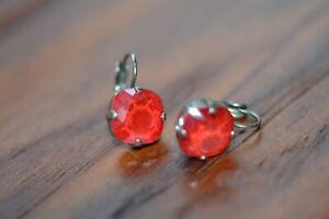 Sabika  Crystal  Earrings Red