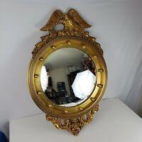 Vintage Federal Style Bullseye Ethan Allen Wall Hanging Gold Eagle Mirror